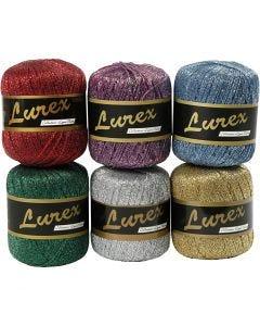 Lurex glitter garen, L: 160 m, diverse kleuren, 6x25 gr/ 1 doos