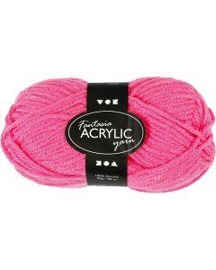 Fantasia acrylgaren, L: 80 m, neon roze, 50 gr/ 1 bol