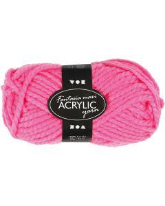 Fantasia acrylgaren, L: 35 m, afm maxi , neon roze, 50 gr/ 1 bol