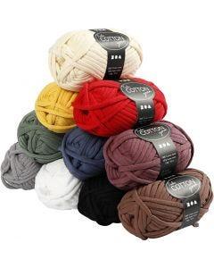Textielgaren, L: 45 m, diverse kleuren, 10x100 gr/ 1 doos
