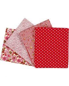 Patchwork stof, afm 45x55 cm, 100 gr, rood, 4 stuk/ 1 doos