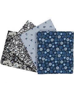 Patchwork stof, afm 45x55 cm, 100 gr, blauw, 4 stuk/ 1 doos