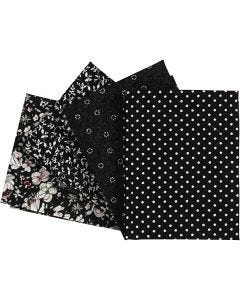 Patchwork stof, afm 45x55 cm, 100 gr, zwart, 4 stuk/ 1 doos