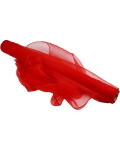 Organza stof, B: 50 cm, rood, 10 m/ 1 rol