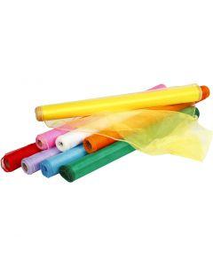 Organza stof, B: 50 cm, diverse kleuren, 8x10 m/ 1 doos