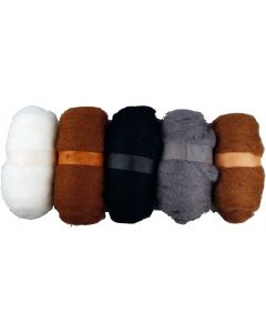 Gekaarde wol, naturel, 5x100 gr/ 1 doos