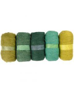 Gekaarde wol, groen glitter, 5x100 gr/ 1 doos