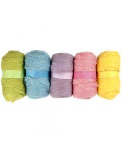 Gekaarde wol, pastel geel, 5x100 gr/ 1 doos