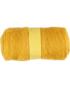 Gekaarde wol, geel, 100 gr/ 1 bol
