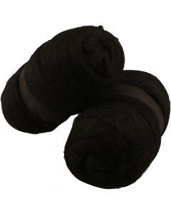 Gekaarde wol, zwart, 2x100 gr/ 1 doos