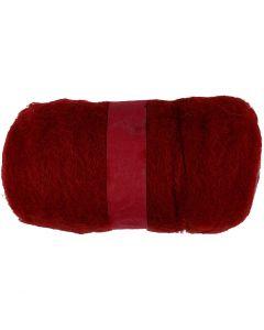 Gekaarde wol, warm red, 100 gr/ 1 bol