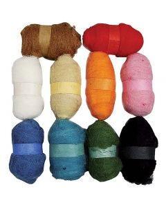 Gekaarde wol , diverse kleuren, 10x25 gr/ 1 doos