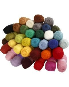 Gekaarde wol , diverse kleuren, 35x100 gr/ 1 doos