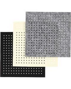 Hobbyvilt met gaten, dikte 3 mm, zwart, grijs, off-white, 3x4 vel/ 1 doos