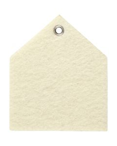 Vilt vorm, afm 6,5x7,5 cm, dikte 3 mm, off-white, 5 stuk/ 1 doos