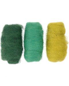Gekaarde wol, groen/off-white, 3x10 gr/ 1 doos