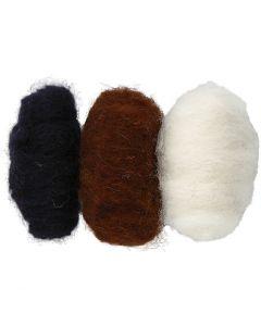 Gekaarde wol, zwart/off-white/bruin harmonie, 3x10 gr/ 1 doos