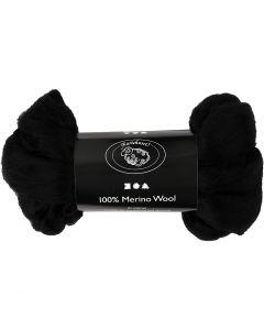 Merino wol, dikte 21 my, zwart, 100 gr/ 1 doos