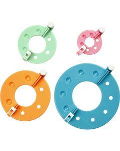 Pom Pom maker, d: 3,5+5,5+7+9 cm, 4 stuk/ 1 set