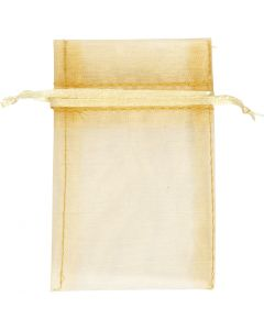 Organza zakjes, afm 7x10 cm, goud, 10 stuk/ 1 doos