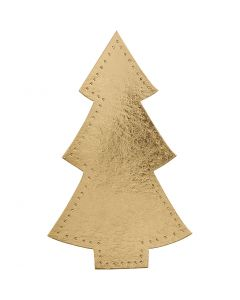 Kerstboom, H: 18 cm, B: 11 cm, 350 gr, goud, 4 stuk/ 1 doos