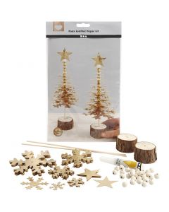 Faux Leather Kerstboom, dikte 0,55 mm, goud, 1 set