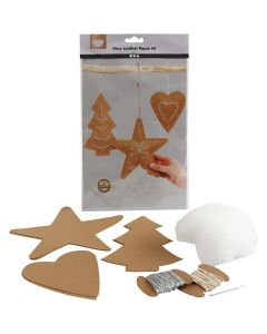 Faux Leather Kerstdecoraties, dikte 0,55 mm, naturel, 1 set