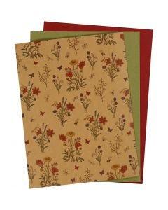 Faux Leather Papier, 21x27,5+21x28,5+21x29,5 cm, dikte 0,55 mm, unikleurig,bedrukt, naturel, groen, rood, 3 vel/ 1 doos