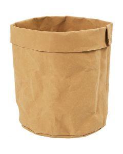 Faux Leather opslagzak, H: 12 cm, d: 11 cm, 350 gr, lichtbruin, 1 stuk