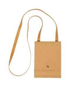 Faux Leather Schoudertas, H: 18 cm, L: 13 cm, 350 gr, lichtbruin, 1 stuk