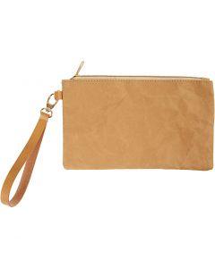 Faux Leather Clutch, H: 18 cm, L: 21 cm, 350 gr, lichtbruin, 1 stuk