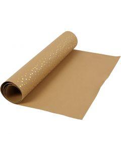 Faux Leather Papier , B: 50 cm, unikleurig,met folie, 350 gr, lichtbruin, goud, 1 m/ 1 rol