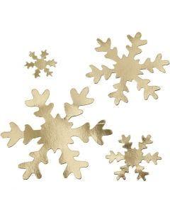 Sneeuwvlok, d: 3+5+8+10 cm, 350 gr, goud, 16 stuk/ 1 doos