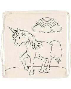 Rugzak, unicorns, afm 37x41 cm, 110 gr, licht naturel, 1 stuk