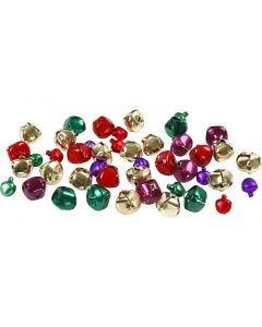 Belletjes, d: 10+14 mm, metallic kleuren, 24 div/ 1 doos
