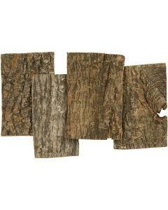 Schors platen, afm 9,5x6,5 cm, dikte 1-4 mm, 340 gr/ 1 doos