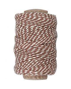 Katoenkoord, dikte 1,1 mm, bruin/wit, 50 m/ 1 rol