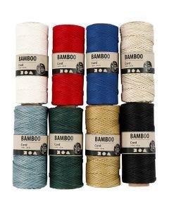 Bamboekoord, dikte 1 mm, diverse kleuren, 8x65 m/ 1 set