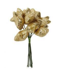 Kunst sterren, d: 25 mm, goud, 12 stuk/ 1 doos