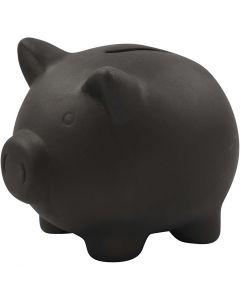 Spaarvarken, H: 10 cm, L: 10,5 cm, zwart, 8 stuk/ 1 karton