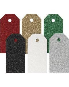 Cadeaulabels, afm 5x10 cm, 300 gr, diverse kleuren, 6x15 stuk/ 1 doos