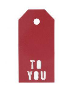 Cadeaulabels, TO YOU, afm 5x10 cm, 300 gr, rood, 15 stuk/ 1 doos