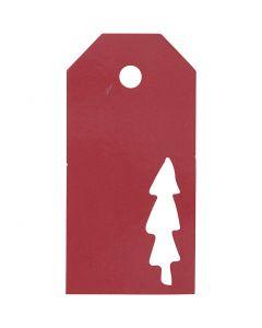 Cadeaulabels, kerstboom, afm 5x10 cm, 300 gr, rood, 15 stuk/ 1 doos
