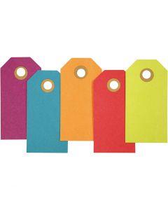Cadeaulabels, afm 4x8 cm, 250 gr, diverse kleuren, 20 stuk/ 1 doos