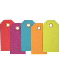 Cadeaulabels, afm 5x10 cm, 250 gr, diverse kleuren, 20 stuk/ 1 doos