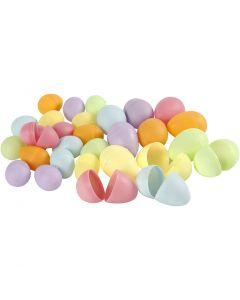 Eieren, H: 4,5+6 cm, d: 3+4  cm, pastelkleuren, 180 stuk/ 1 doos