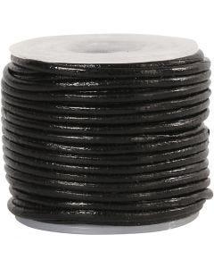 Leerkoord, dikte 1 mm, zwart, 10 m/ 1 rol