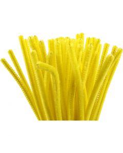 Chenilledraad, L: 30 cm, dikte 6 mm, geel, 50 stuk/ 1 doos