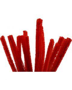 Chenille draad, L: 30 cm, dikte 15 mm, rood, 15 stuk/ 1 doos
