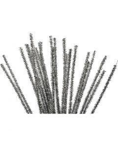 Chenilledraad, L: 30 cm, dikte 6 mm, glitter, zilver, 24 stuk/ 1 doos